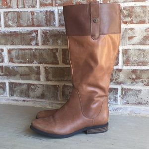Isaac Mizrahi Two-Tone Leather Riding Boots 7.5